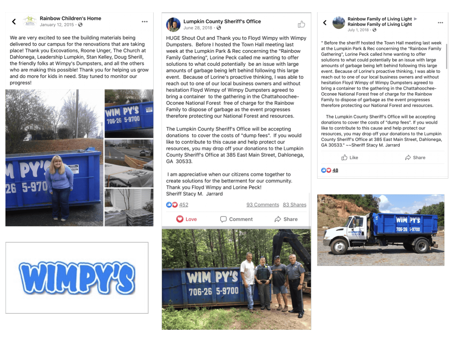 Wimpy Dumpsters - Facebook Testimonial